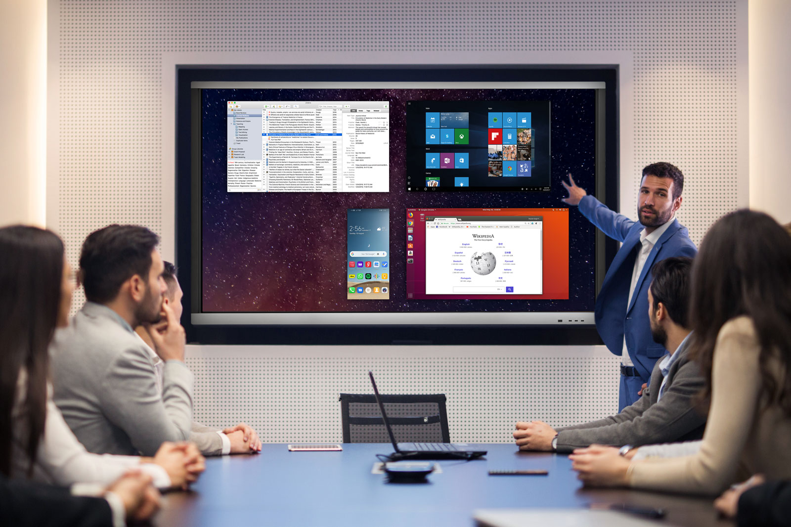 With csubtil pro range interactive touchscreens, participants can simultaneously display content