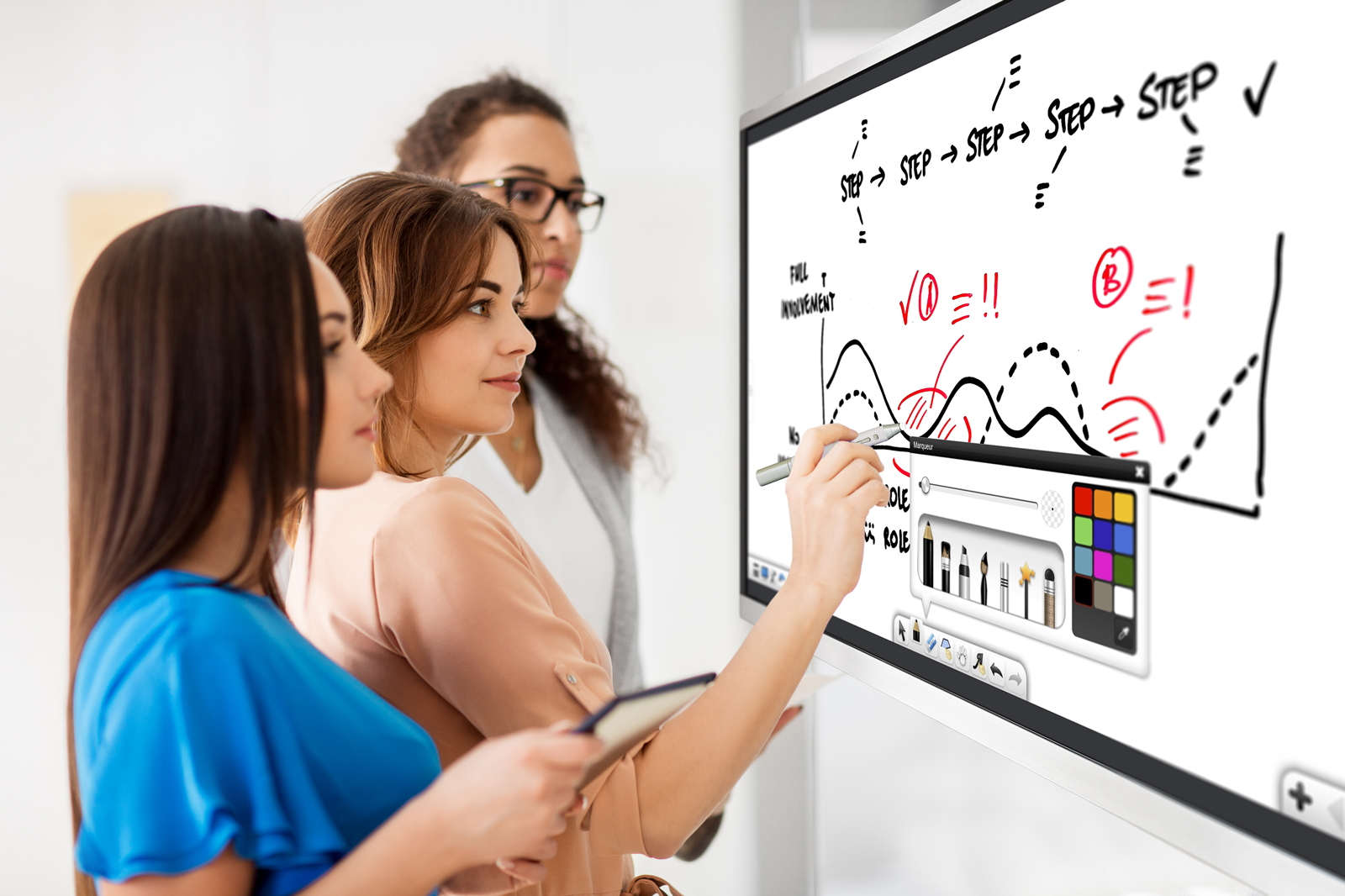 Using csubtil interactive touchscreen as whiteboard during meeting